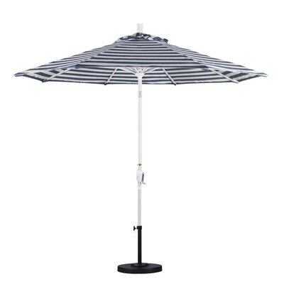 9 Market Umbrella Frame Finish: Matte White, Color: Navy White Cabana Stripe