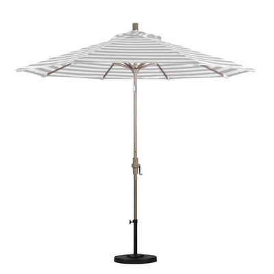 9 Market Umbrella Color: Gray White Cabana Stripe, Frame Finish: Sand