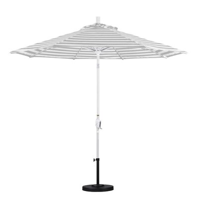 9 Market Umbrella Frame Finish: Matte White, Color: Gray White Cabana Stripe