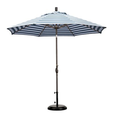 9' Market Umbrella Frame Finish: Bronze, Color: Navy White Cabana Stripe GSPT908117-F96