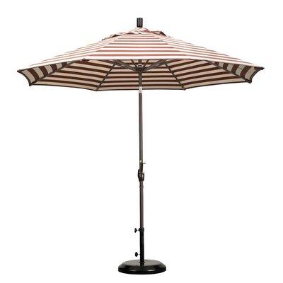 9 Market Umbrella Frame Finish: Bronze, Color: Brick White Cabana Stripe