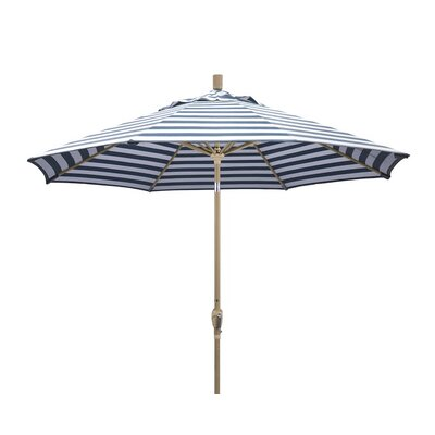9 Market Umbrella Frame Finish: Champagne, Color: Navy White Cabana Stripe