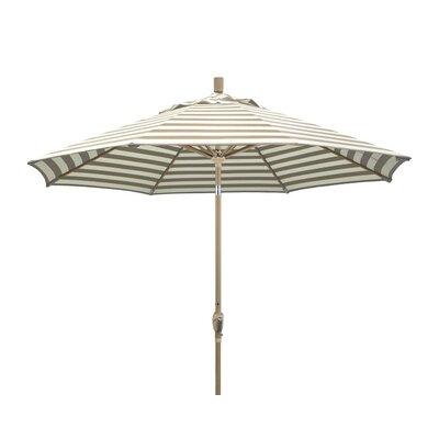 9 Market Umbrella Frame Finish: Champagne, Color: Beige White Cabana Stripe