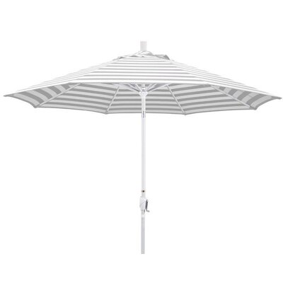 9 Market Umbrella Color: Gray White Cabana Stripe, Frame Finish: Matte White