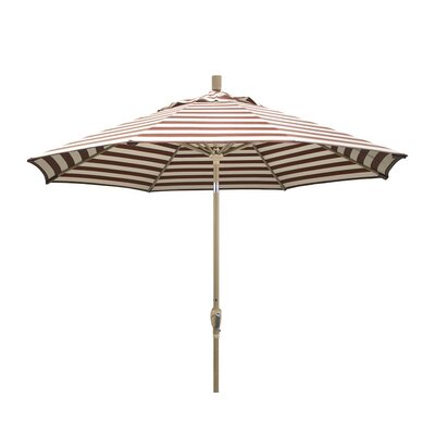 9 Market Umbrella Frame Finish: Champagne, Color: Brick White Cabana Stripe