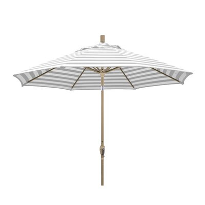 9 Market Umbrella Frame Finish: Champagne, Color: Gray White Cabana Stripe