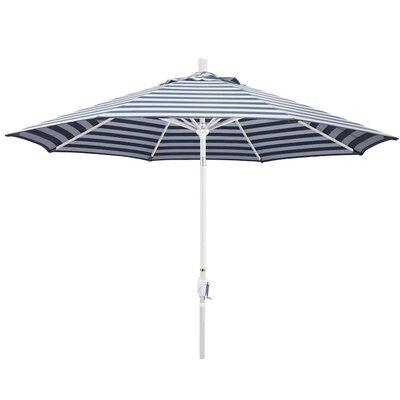 9 Market Umbrella Color: Navy White Cabana Stripe, Frame Finish: Matte White