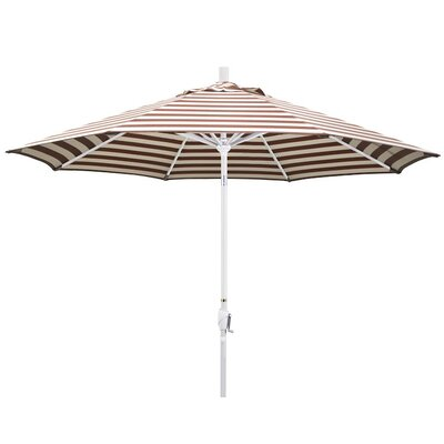 9 Market Umbrella Color: Brick White Cabana Stripe, Frame Finish: Matte White