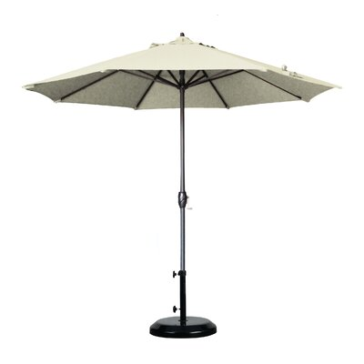 9 Market Umbrella Fabric: Olefin - White, Frame Finish: Bronze