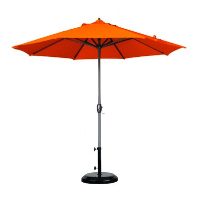 9 Market Umbrella Fabric: Olefin - Terracotta, Frame Finish: Bronze