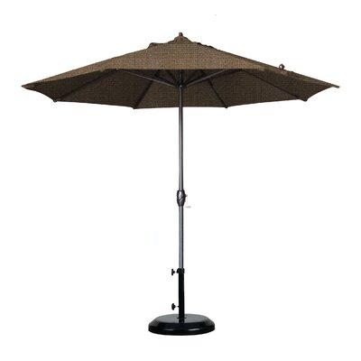 9 Market Umbrella Fabric: Olefin - Teak, Frame Finish: Bronze