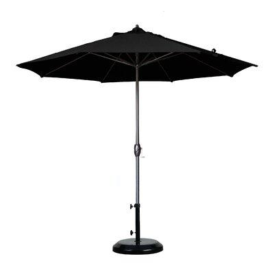 9 Market Umbrella Fabric: Olefin - Black, Frame Finish: Bronze
