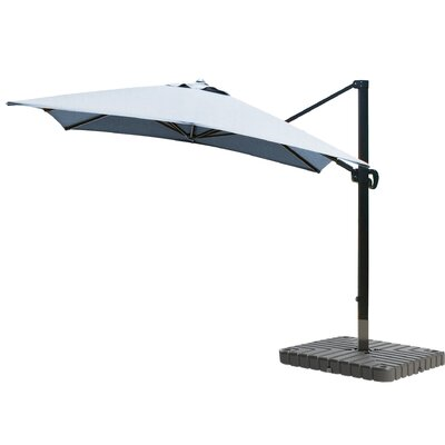 10 Square Cantilever Umbrella Fabric: Sunbrella - Air Blue, Frame Finish: Bronze