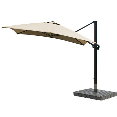 10 Square Cantilever Umbrella Fabric: Sunbrella-Natural, Frame Finish: Bronze
