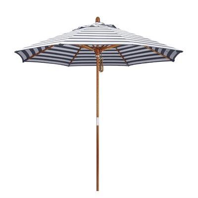 9 Mare Market Umbrella Fabric: Olefin - Navy White Cabana Stripe, Frame Finish: Marenti Wood