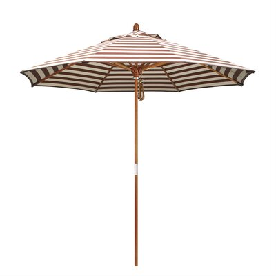9 Mare Market Umbrella Fabric: Olefin - Brick White Cabana Stripe, Frame Finish: Marenti Wood
