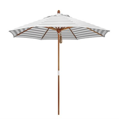 9 Mare Market Umbrella Fabric: Olefin - Gray White Cabana Stripe, Frame Finish: Marenti Wood