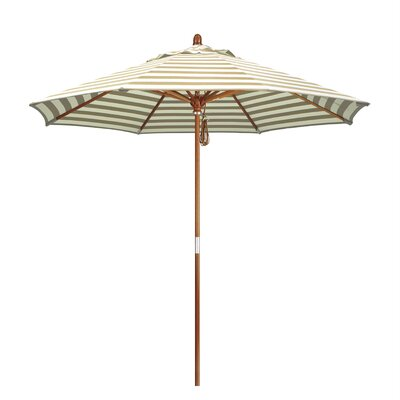 9 Mare Market Umbrella Fabric: Olefin - Beige White Cabana Stripe, Frame Finish: Marenti Wood