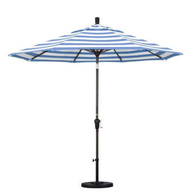 9' Market Umbrella Fabric: Regatta, Frame Finish: Bronze