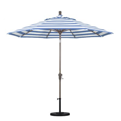 9' Market Umbrella Fabric: Regatta, Frame Finish: Champagne