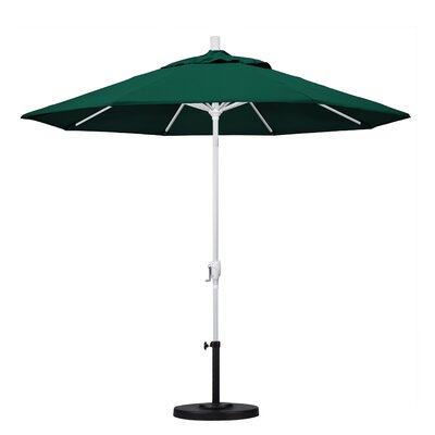 9 Market Umbrella Frame Finish: Matted White, Fabric: Forest Green