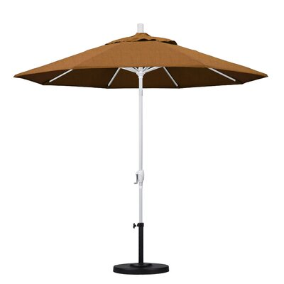 9 Market Umbrella Frame Finish: Matted White, Fabric: Cork