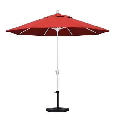 9 Market Umbrella Frame Finish: Matted White, Fabric: Red
