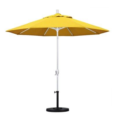9 Market Umbrella Frame Finish: Matted White, Fabric: Lemon