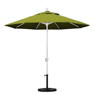 9 Market Umbrella Fabric: Kiwi, Frame Finish: Matted White