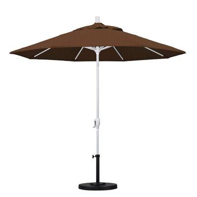 9 Market Umbrella Frame Finish: Matted White, Fabric: Teak