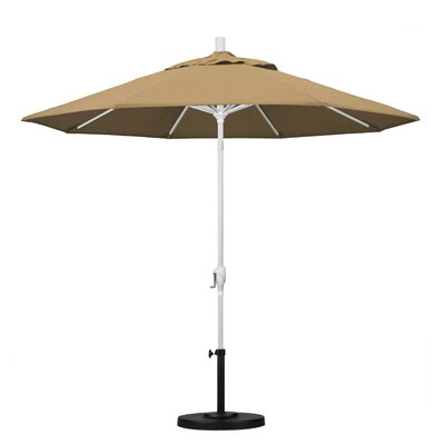 9 Market Umbrella Frame Finish: Matted White, Fabric: Straw