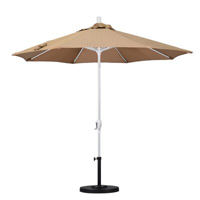 9 Market Umbrella Fabric: Terrace Sequoia, Frame Finish: Matted White