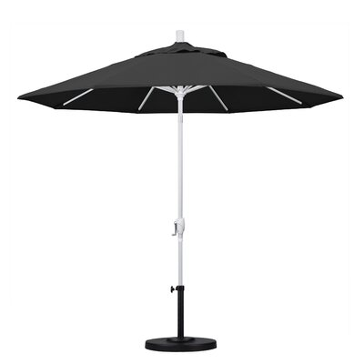 9 Market Umbrella Frame Finish: Matted White, Fabric: Black