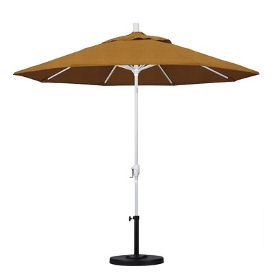 9 Market Umbrella Fabric: Straw, Frame Finish: Matted White