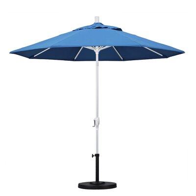 9 Market Umbrella Fabric: Capri, Frame Finish: Matted White