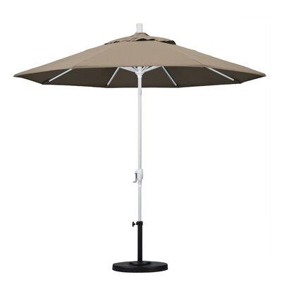 9 Market Umbrella Fabric: Taupe, Frame Finish: Matted White