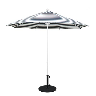 9 Olefin Round Umbrella Frame Finish: Matted White, Fabric: Olefin - Navy White Cabana Stripe