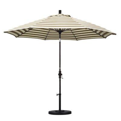 9 Market Umbrella Frame Finish: Bronze, Fabric: Olefin - Beige White Cabana Stripe