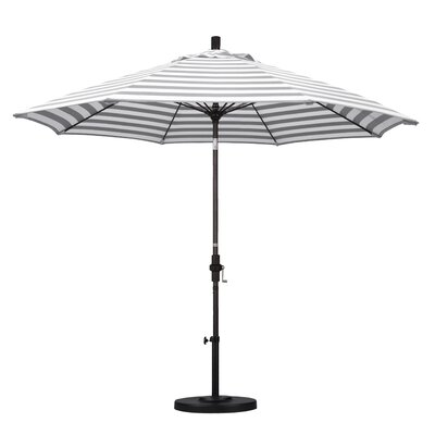 9 Market Umbrella Frame Finish: Bronze, Fabric: Olefin - Gray White Cabana Stripe
