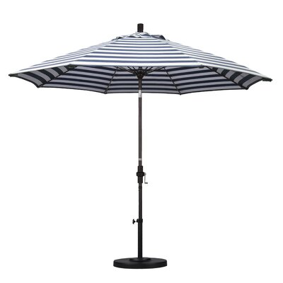 9 Market Umbrella Frame Finish: Bronze, Fabric: Olefin - Navy White Cabana Stripe