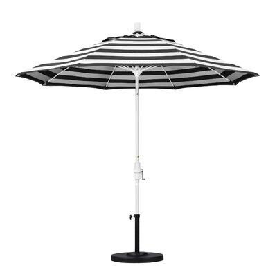 9 Market Umbrella Fabric: Classic, Frame Finish: Matted White