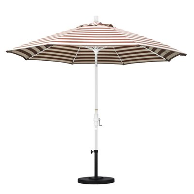 9 Market Umbrella Frame Finish: Matted White, Fabric: Olefin - Brick White Cabana Stripe