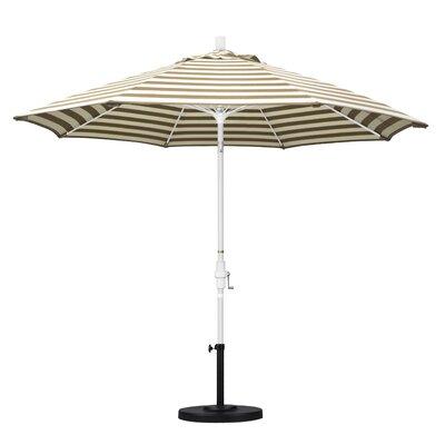 9 Market Umbrella Frame Finish: Matted White, Fabric: Olefin - Beige White Cabana Stripe