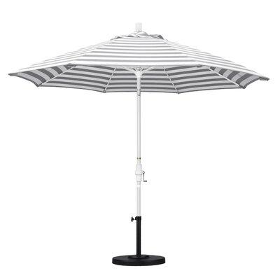 9 Market Umbrella Frame Finish: Matted White, Fabric: Olefin - Gray White Cabana Stripe