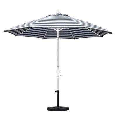 9 Market Umbrella Frame Finish: Matted White, Fabric: Olefin - Navy White Cabana Stripe