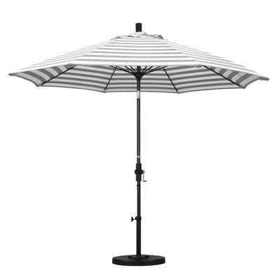 9 Market Umbrella Fabric: Olefin - Gray White Cabana Stripe, Frame Finish: Stone Matted Black