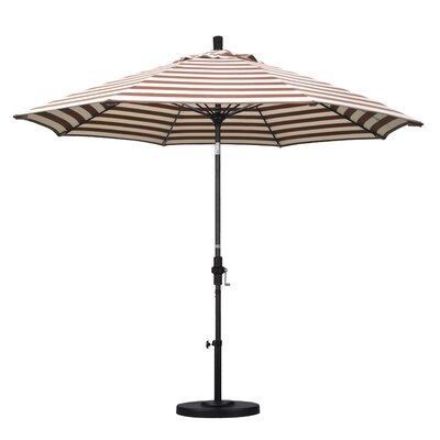 9 Market Umbrella Fabric: Olefin - Brick White Cabana Stripe, Frame Finish: Stone Matted Black