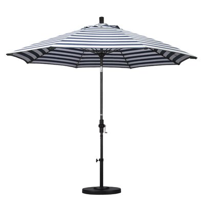 9 Market Umbrella Fabric: Olefin - Navy White Cabana Stripe, Frame Finish: Stone Matted Black