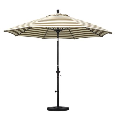 9 Market Umbrella Fabric: Olefin - Beige White Cabana Stripe, Frame Finish: Stone Matted Black