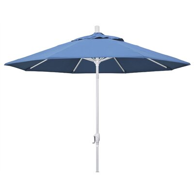 9 Market Umbrella Frame Finish: Matted White, Fabric: Frost Blue